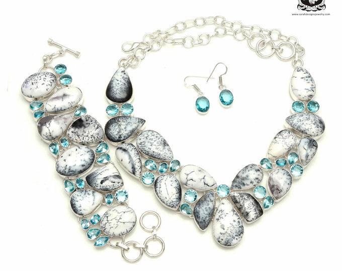 Dendritic Opal MERLINITE 925 Sterling Silver + Copper Bonded Necklace Bracelet & Earrings ALL Included SET525