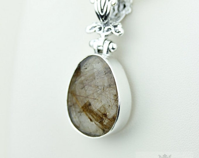 Rutilated quartz 925 S0LID Sterling Silver Pendant + 4MM Snake Chain  p3558