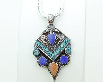 Work Of Art! Lapis Coral Turquoise Native Tribal Ethnic Vintage Nepal Tibetan Jewelry OXIDIZED Silver Pendant + Chain P3941