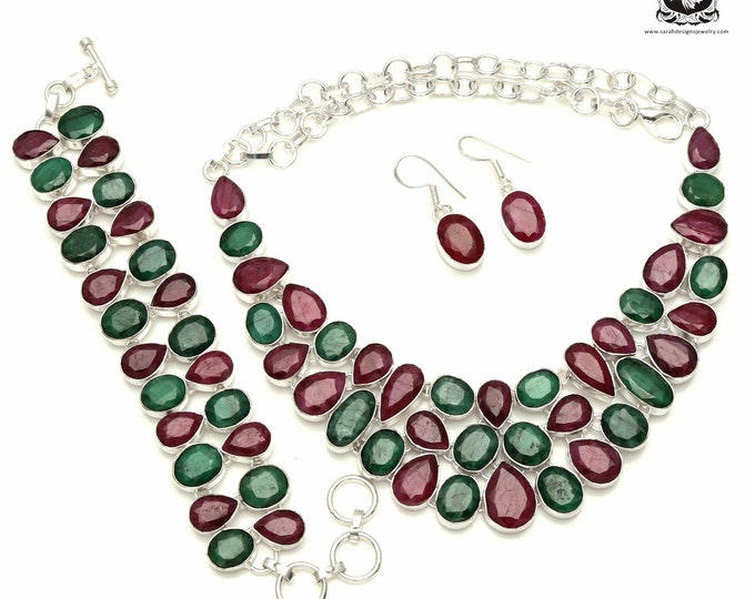 Stunning Combination of COLORS! Ruby and Emerald 925 Sterling Silver + Copper Bonded Necklace Bracelet & Earrings ALL Included SET550