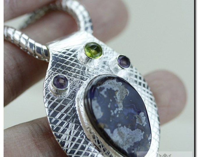 Boulder Opal Peridot Iolite 925 SOLID Sterling Silver Pendant & 4mm Snake Chain + FREE Worldwide Shipping