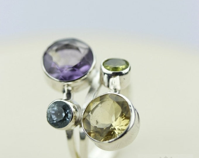 Size 5.5 AMETHYST CITRINE TOPAZ (Nickel Free) 925 Fine Sterling Silver Ring & Free Worldwide Express Shipping r78