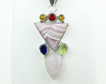 Rhodochrosite Featured Citrine Iolite Peridot Garnet 925 S0LID Sterling Silver Pendant + 4MM Snake Chain p4081