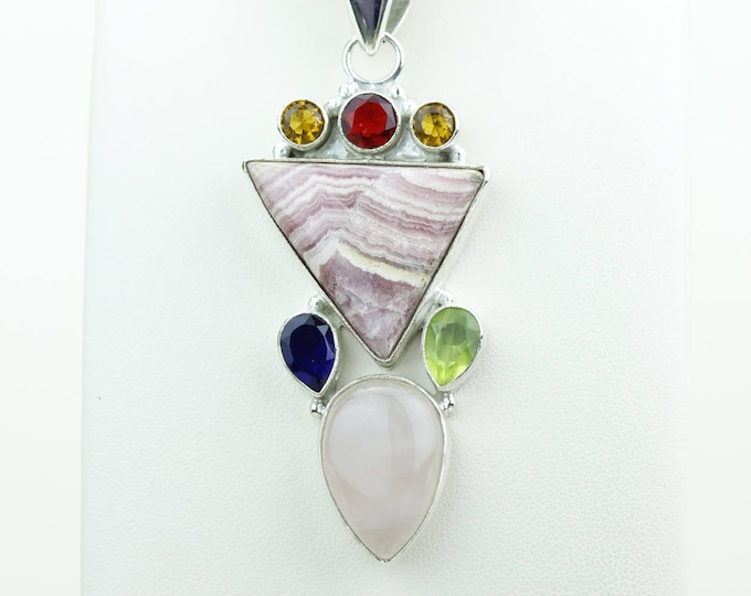 Rhodochrosite Featured Citrine Iolite Peridot Garnet 925 S0LID Sterling Silver Pendant + 4MM Snake Chain p4081