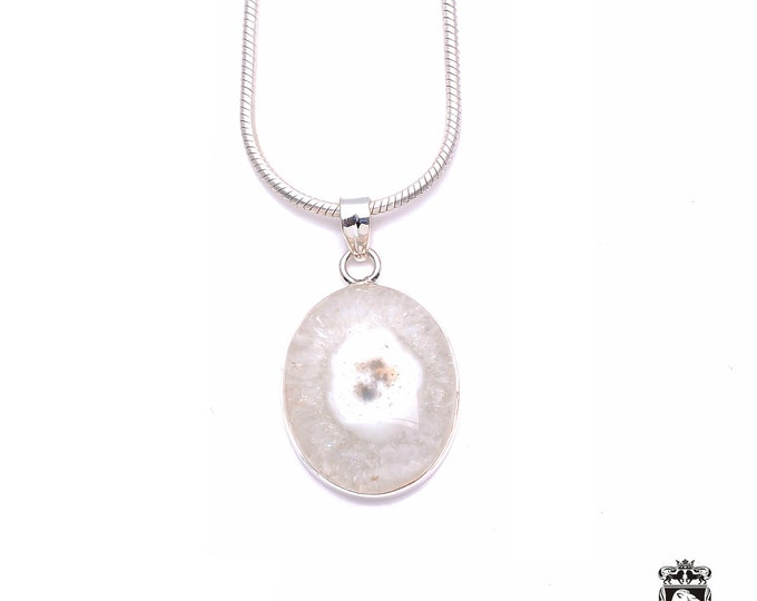 Polished STALACTITE Cabochon Fine 925+ 975 S0LID Sterling Silver Pendant + Snake Chain P6213