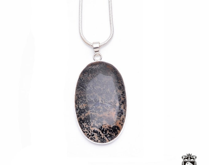 3.1 Inch Beautiful Pattern AAA grade Russian SCENIC AGATE Fine 925+ 975 S0LID Sterling Silver Pendant + Snake Chain P6245
