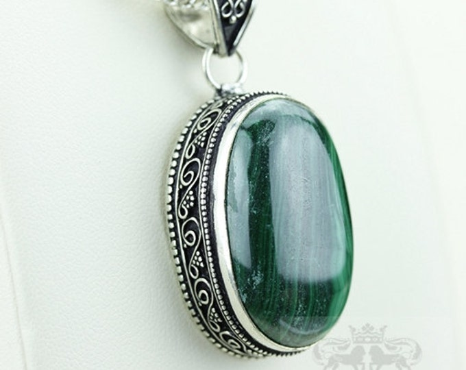 Malachite Vintage Filigree Setting 925 S0LID Sterling Silver Pendant + 4mm Snake Chain p2893