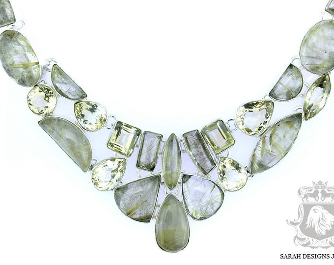 Rutile RUTILATED Quartz Citrine 925 SOLID Sterling Silver Necklace N59