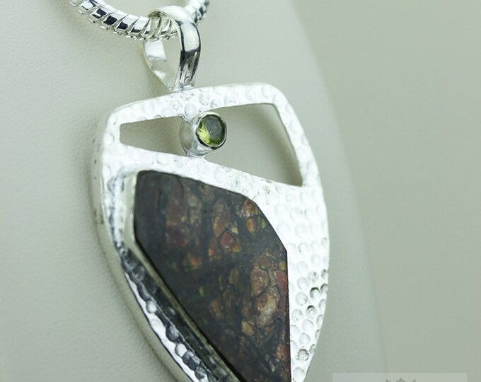 Limited time offer! GENUINE Canadian AMMOLITE 925 S0LID Sterling Silver Pendant + 4MM Snake Chain & FREE Worldwide Express Shipping A5