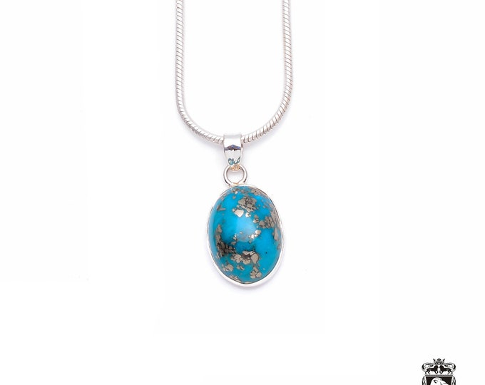 Stunning Quality! KINGMAN TURQUOISE Fine 925+ 975 S0LID Sterling Silver Pendant + Snake Chain P6250