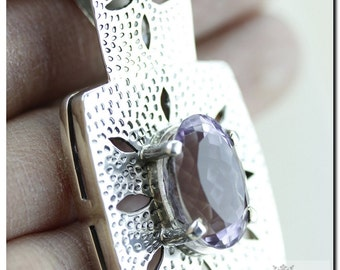 Royal Setting Filigree Amethyst Italian Made 925 SOLID Sterling Silver Pendant & 4mm Snake Chain + FREE Worldwide Shipping