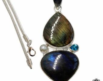Rainbow Labradorite Blue Topaz Pearl 925 Sterling Silver + BONDED Copper Pendant Snake Chain & Worldwide Shipping p4830