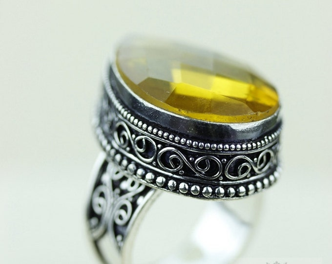 Size 8.5 Lab created Citrine 925 S0LID (Nickel Free) Sterling Silver Vintage Setting Ring  r1828