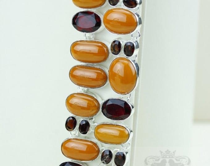 Orange Bamboo Coral Pyrope Garnet 925 S0LID Sterling Silver Bracelet & Free Worldwide Express Shipping b1848