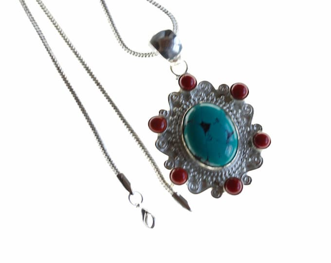 Antique Filigree Turquoise Coral 925 Sterling Silver + BONDED Copper Pendant Chain & Worldwide Shipping p4486