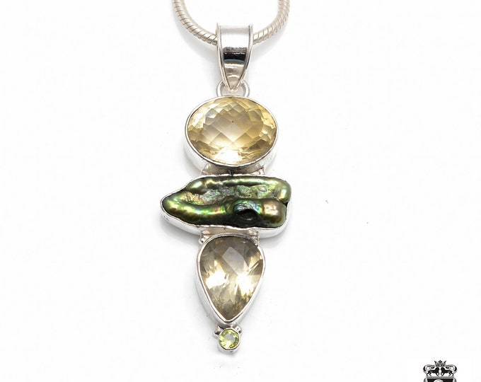 Shades of Yellow and Green! Lemon Topaz Freshwater Peacock Flat Pearl Fine 925+ 975 S0LID Sterling Silver Pendant + Snake Chain P6108