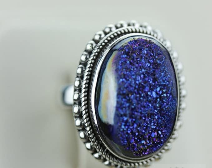 Size 5 WINDOW TITANIUM DRUSY (Nickel Free) 925 Fine S0LID Sterling Silver Ring & Free Worldwide Express Shipping r851