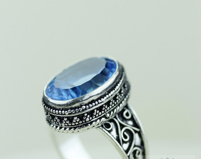 SIZE 10 Heat Treated Blue Topaz 925 S0LID (Nickel Free) Sterling Silver Vintage Setting Ring r1774