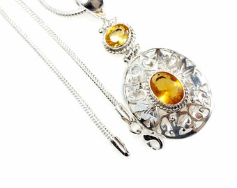 Filigree Oval Cut Citrine Vintage Antique 925 Sterling Silver + BONDED Copper Pendant Snake Chain & Worldwide Shipping p4537