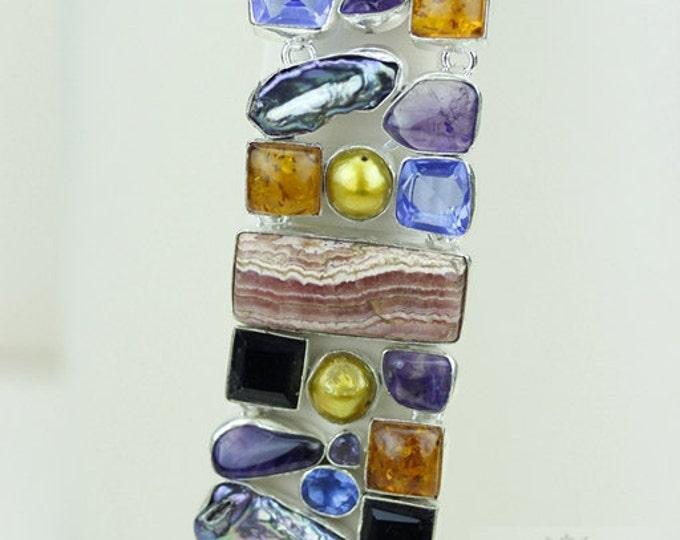RHODOCHROSITE PEARL ABALONE Pearl Amber 925 Solid Sterling Silver Bracelet + Free Worldwide Shipping b1334