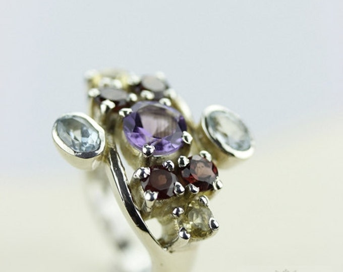 Size 6 AMETHYST TOPAZ CITRINE (Nickel Free) 925 Fine Sterling Silver Ring & Free Worldwide Express Shipping r142