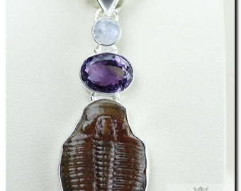 ELRATHIA KINGII TRILOBITE  Amethyst Moonstone 925 Solid Sterling Silver Pendant + 4mm Snake Chain & Free Worldwide Shipping P1972