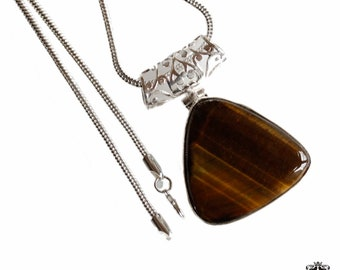 Triangle Shape Tiger's Eye Vintage Filigree Antique 925 Sterling Silver + BONDED Copper Pendant Snake Chain & Worldwide Shipping p4409