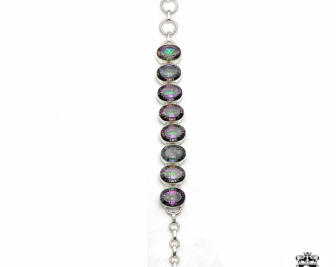 137 Carats Genuine MYSTIC TOPAZ 925 Sterling Silver + Copper Bonded Bracelet & Worldwide Express Tracked Shipping B3016