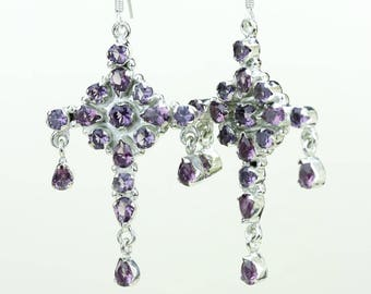 Amethyst 925 SOLID (Nickel Free) Sterling Silver Italian Made Dangle Earrings e683