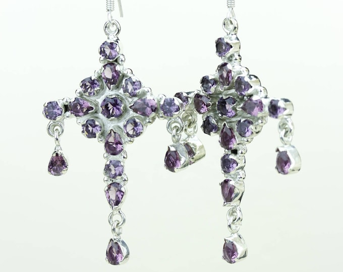 Amethyst 925 SOLID (Nickel Free) Sterling Silver Italian Made Dangle Earrings e683