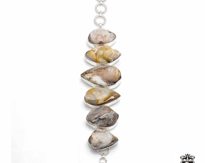 One Heck of a Deal! Crystalline Fossil Ammonite 925 Sterling Silver + Copper Bonded Bracelet & Worldwide Express Tracked Shipping B3006