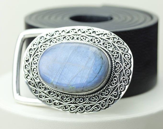AAA Graded! True Blue Canadian LABRADORITE Vintage Filigree Antique 925 Fine S0LID Sterling Silver + Copper BELT Buckle T10