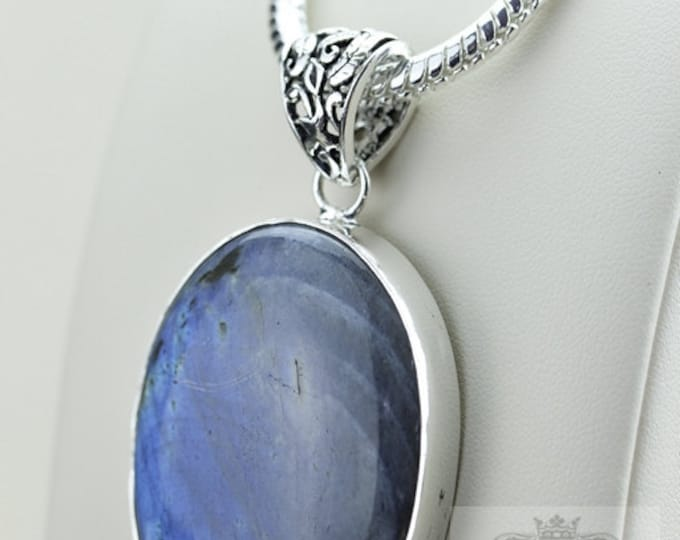 Oval Shaped! AAA Grade Blue LABRADORITE 925 S0LID Sterling Silver Pendant + 4MM Snake Chain  p3055
