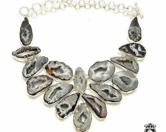 Sliced AGATE GEODE Multi Layered 925 Sterling Silver + Copper Bonded Necklace & Worldwide Express Tracked Shipping N6117