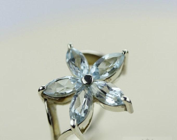Size 5 FLOWER SHAPE AQUAMARINE (Nickel Free) 925 Fine Sterling Silver Ring & Free Worldwide Express Shipping r127