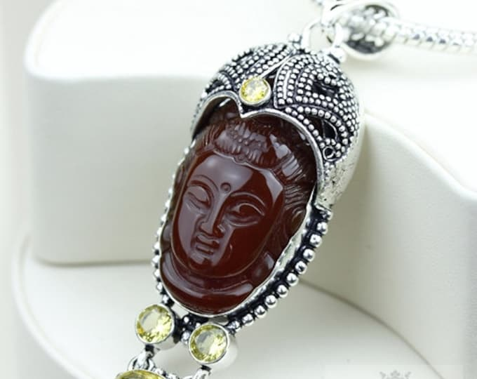 Feel The Vibe! Kwan Yin Guanyin BUDDHA Goddess Face Moon Face 925 S0LID Sterling Silver Pendant + 4MM Chain & Free Shipping P3742