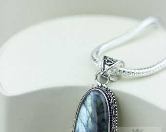 2.5 Canadian LABRADORITE VINTAGE Style Setting 925 S0LID Sterling Silver Pendant + 4MM Snake Chain & FREE Worldwide Shipping P3155