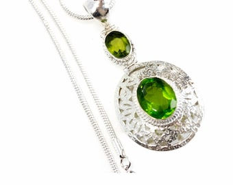 Filigree Oval Cut Peridot Vintage Antique 925 Sterling Silver + BONDED Copper Pendant Snake Chain & Worldwide Shipping p4539