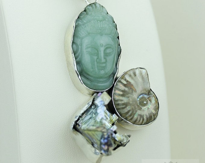JADE carved BUDDHA Bismuth Crystal Ammonite 925 S0LID Sterling Silver Pendant + 4MM Snake Chain & FREE Worldwide Express Shipping MP201