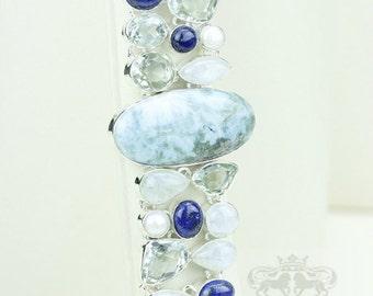 Larimar PRASIOLITE Moonstone Lapis Lazuli Pearl 925 S0LID Sterling Silver Bracelet & FREE Worldwide Express Shipping B1792
