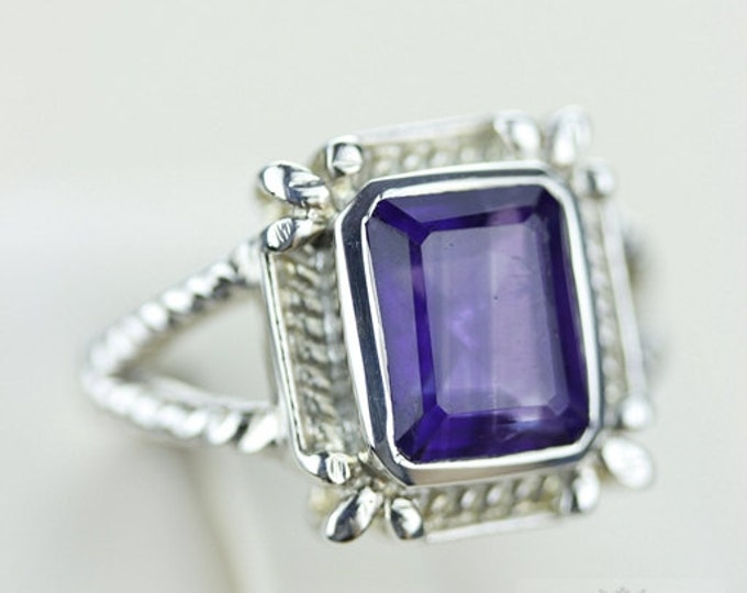 SIZE 6.5 AMETHYST (Nickel Free) 925 Fine S0LID Sterling Silver Ring & Free Worldwide Express Shipping r775