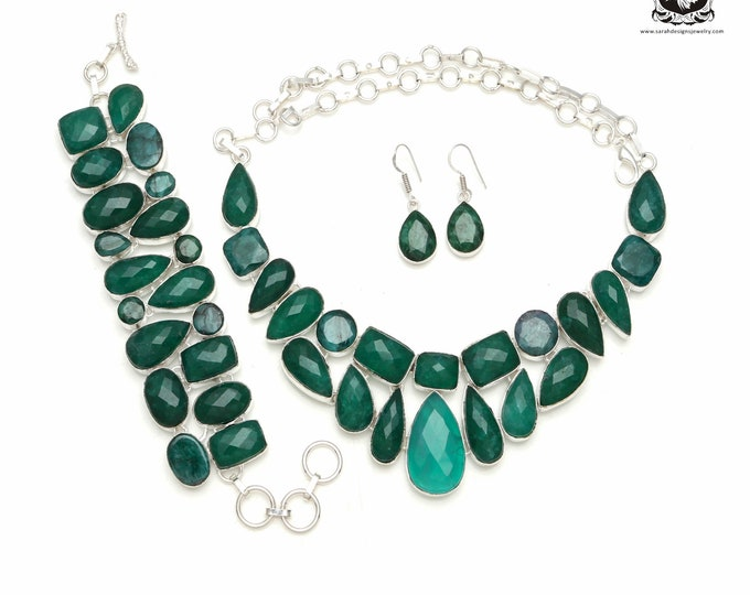 Good to go! EMERALD Corundum 925 Sterling Silver + Copper Bonded Necklace Bracelet & Earrings ALL Included SET587