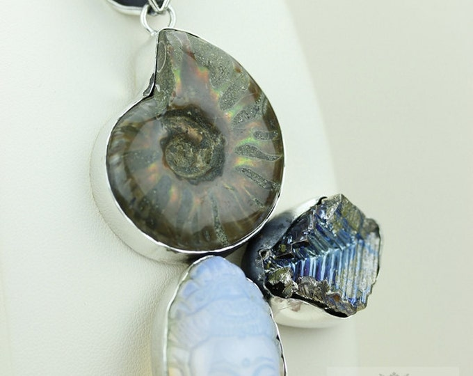 Opalized AMMONITE Carved BUDDHA Head BISMUTH Crystal 925 S0LID Sterling Silver Pendant + Snake Chain & Free Worldwide Express Shipping MP180