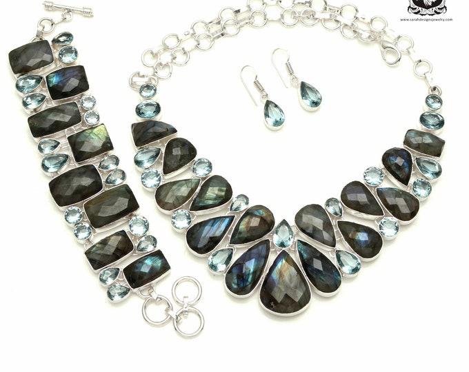 OPULENT! Faceted CANADIAN Labradorite 925 Sterling Silver + Copper Bonded Necklace Bracelet & Earrings ALL Included SET540