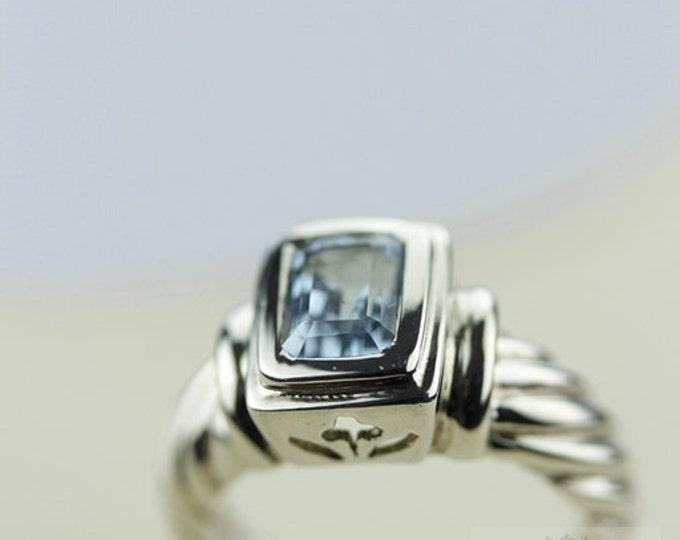 Size 5 SWISS BLUE TOPAZ (Nickel Free) 925 Fine Sterling Silver Ring & Free Worldwide Express Shipping