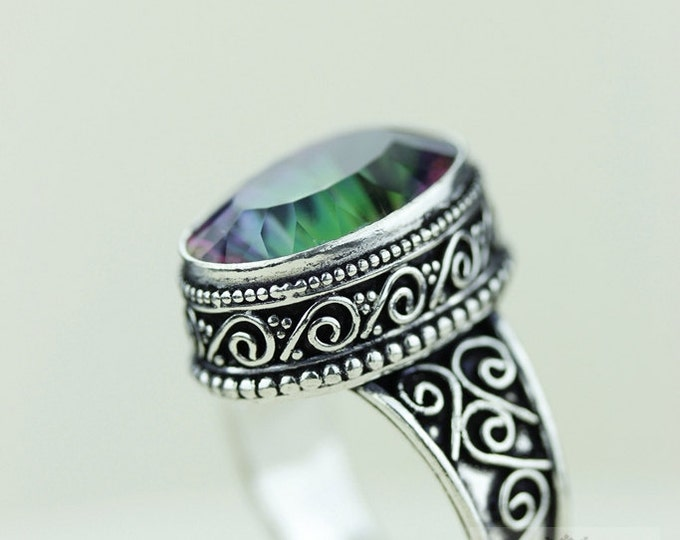 Size 10 MYSTIC TOPAZ 925 S0LID (Nickel Free) Sterling Silver Vintage Setting Ring