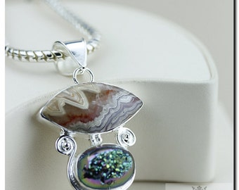 Mexican Crazy Lace AGATE Drusy 925 Solid Sterling Silver Pendant + 4mm Snake Chain & FREE Worldwide Shipping P2026