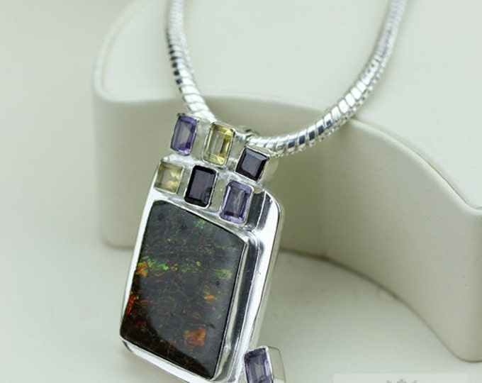 Dress it Up! GENUINE Canadian AMMOLITE 925 Solid Sterling Silver Pendant + 4mm Snake Chain & FREE Worldwide Shipping P1598