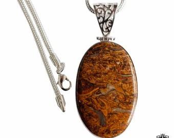 Marium Fossil Jasper Vintage Antique 925 Sterling Silver + BONDED Copper Pendant Snake Chain & Worldwide Shipping p4397