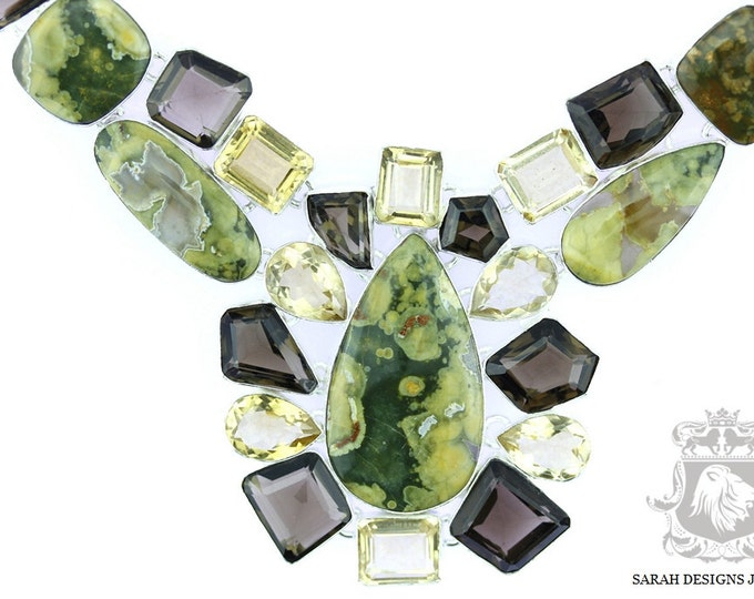 Large Layered !! Rhyolite Rainforest Jasper Citrine Smokey Topaz 925 SOLID Sterling Silver Necklace